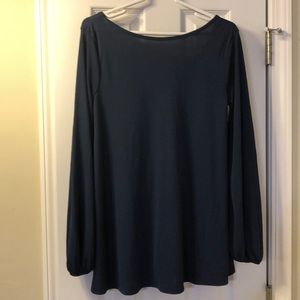 Navy blue maternity top with v-back